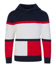 Kids Navy Colour-Blocked Organic Cotton Hoodie