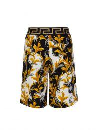 Black Acanthus Print Junior Shorts