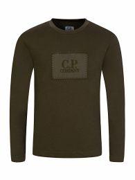 Green Long-Sleeve Patch Logo T-Shirt