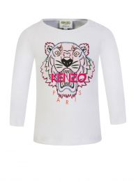 White Long-Sleeve Tiger T-Shirt