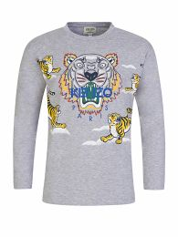 Grey Long-Sleeve Tiger Print T-Shirt