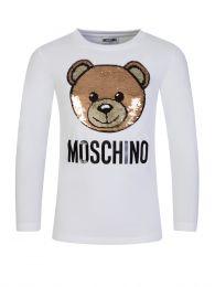 Kids White Sequin Bear T-Shirt