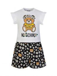 Kids White/Black Flower Bear T-Shirt & Shorts Set