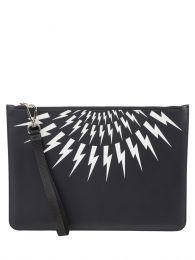 Black Fair-Isle Thunderbolt Leather Large Zip-up Pouch