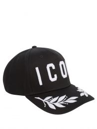 Black/White Embroidered Leaves ICON Cap