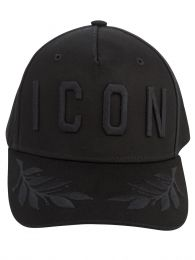 Black Embroidered Leaves ICON Cap