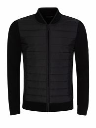 Black Baffle Knit Zip-Through Jacket