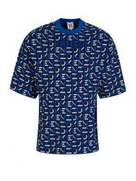 Blue Sport Jacquard Monogram Knitted T-Shirt