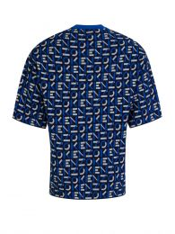 Blue Sport Jacquard Monogram Knitted T-Shirt