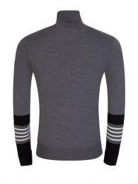Grey High Neck Stripe Cuff Jumper