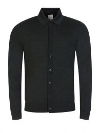 Dark Green Knitted Button-Up Polo Shirt