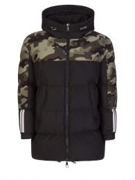 Black Mix Fabric Camo Sleeved Puffer Jacket