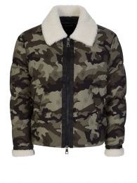 Green Camouflage Shearling Zip-Up Puffer Jacket