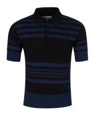 Black Striped Knit Polo Shirt