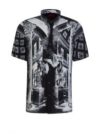 Black Relaxed-Fit Collection-Themed Print Ebor Shirt