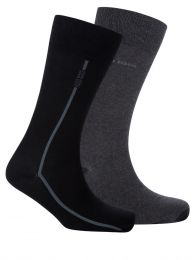 Black/Charcoal Finest Soft Cotton Stripe Socks 2-Pack