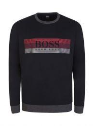 Black Bodywear Block-Striped Logo Lounge Sweatshirt