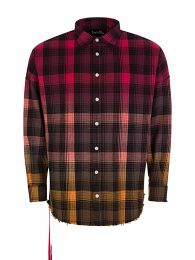 Red Frayed Poster Print Plaid Shirt