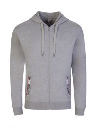 Grey Logo Tape Hooded Zip-Through