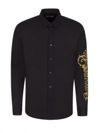 Black Slim-Fit Basic Stretch Baroque Shirt