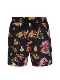 Black Cameo Pattern Swim Shorts