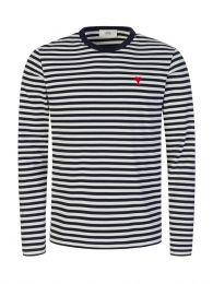 Navy/White AMI de Coeur Striped T-Shirt