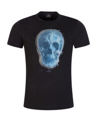 Black Slim-Fit 'Blue Skull' T-Shirt