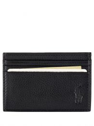 Black Pebbled Leather Card Holder