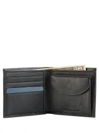 Black Pebbled Leather Coin Wallet