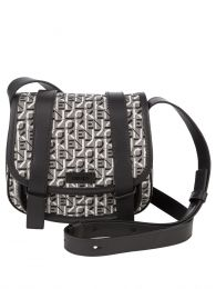 Black/Grey Courier Small Jacquard Messenger Bag