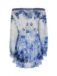 Blue High Tea Tiered Mini Dress