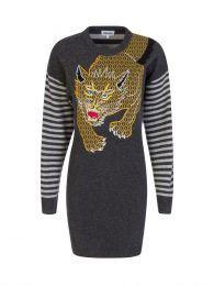x Kansai Yamamoto Grey Wool Lynx Dress