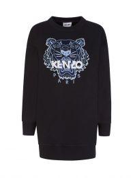 Black Classic Tiger Sweatshirt Dress