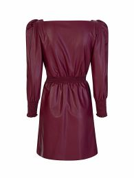 Di Lorenzo Serafini Burgundy Faux Leather Shirred Dress