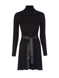 Black Lurex High Neck Mini Dress
