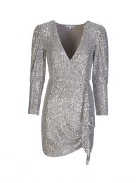 Silver Allover Sequin Wrap Dress