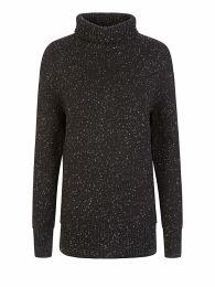 Black High-Neck Knit Tweed