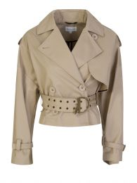 Beige Short-Length Trench Coat