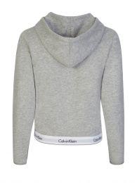 Grey Waistband Logo Zip Hoodie