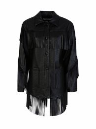 Di Lorenzo Serafini Black Faux Leather Fringe Jacket