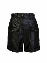 Di Lorenzo Serafini Black Faux Leather Shorts