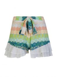 White/Green Stripe Frill Shorts