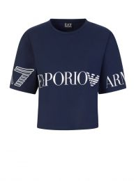 Navy Blue Cropped Logo T-Shirt