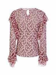 Di Lorenzo Serafini Pink Mesh Frill Flower Top