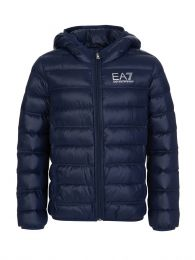 Junior Navy Blue Padded Logo Jacket
