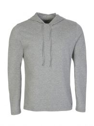 Grey Cotton-Blend Sleepwear Hoodie