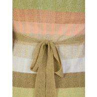 Ruth Erotokritou White/Gold Stripe Tie Waist Midi Dress