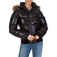 Pyrenex Black Aviator Shiny Fur Jacket