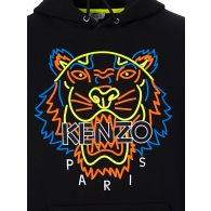 KENZO Black Neon Tiger Embroidered Hoodie
