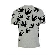 McQ Swallow Grey Dropped Shoulder Swallow T-Shirt